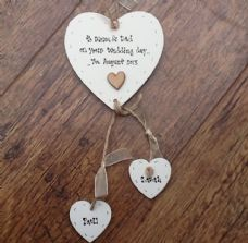 Shabby personalised Gift Chic Heart Plaque Mummy & Daddy Wedding Present Gift.